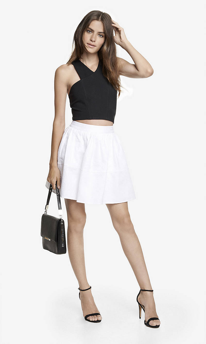 HIGH WAIST JACQUARD FULL SKIRT from EXPRESS