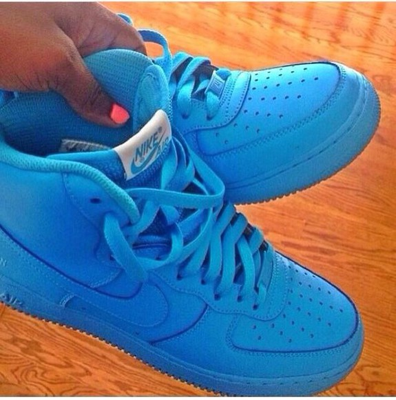 shoes high top air force ones blue shoes forces af1 sky blue high tops swag style spring fun casual girly nike sneakers air force 1 powder blue airforce1