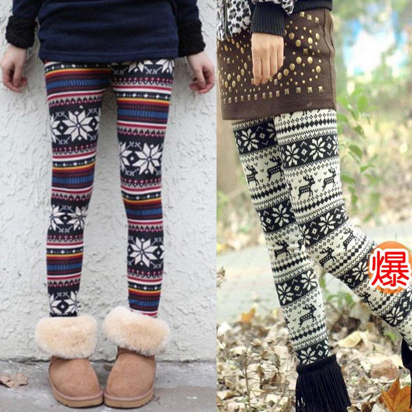 Fashion Knitted Elastic Xmas Snowflake Reindeer Tights Pants Trousers Leggings | eBay