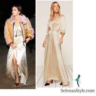 dress reformation cream silk dress selena gomez