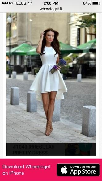 dress white classy elegant stylish summer asymmetrical fashion style girly