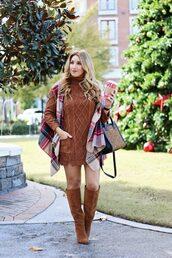 januaryhart,blogger,sweater,dress,scarf,shoes,bag,jewels,sweater dress,knitted dress,knee high boots,boots,tartan scarf,handbag,winter outfits