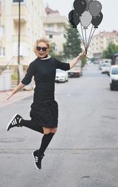 ag on i ya,blogger,top,adidas,necklace,adidas shoes,knee high socks,sunglasses