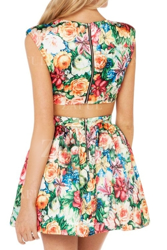 dress floral floral dress summer collection two pieces dres mini dress sleeveless sleeveless dress zaful plunging neck line zipper dress beautiful cute dress summer dress casual casual dress