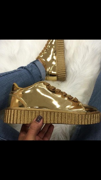 shoes puma gold sneakers creepers gold shoes sneakers puma sneakers gold puma x rihanna puma creepers metallic shoes