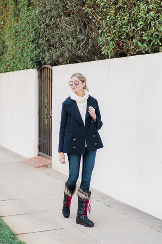 modern ensemble blogger shoes jeans sweater jacket sunglasses boots winter outfits turtleneck sweater blue jacket