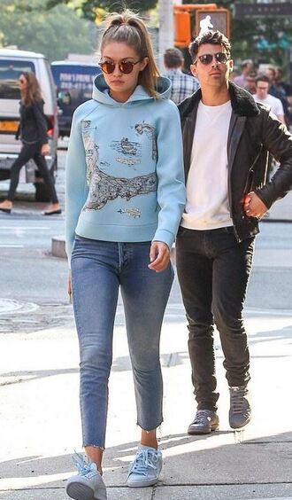 jeans hoodie sweatshirt gigi hadid sneakers blue sweater sweater