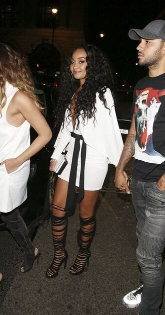 dress white sandals leigh-anne pinnock plunge v neck shoes