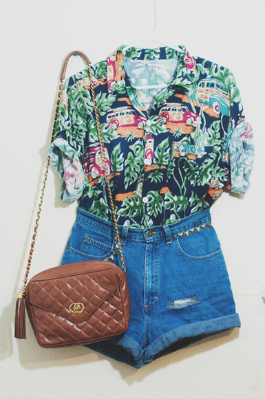 shorts denim shorts blouse tropical tropical shirt button up blouse bag satchel bag vintage High waisted shorts vintage shirt vintage button up leather bag