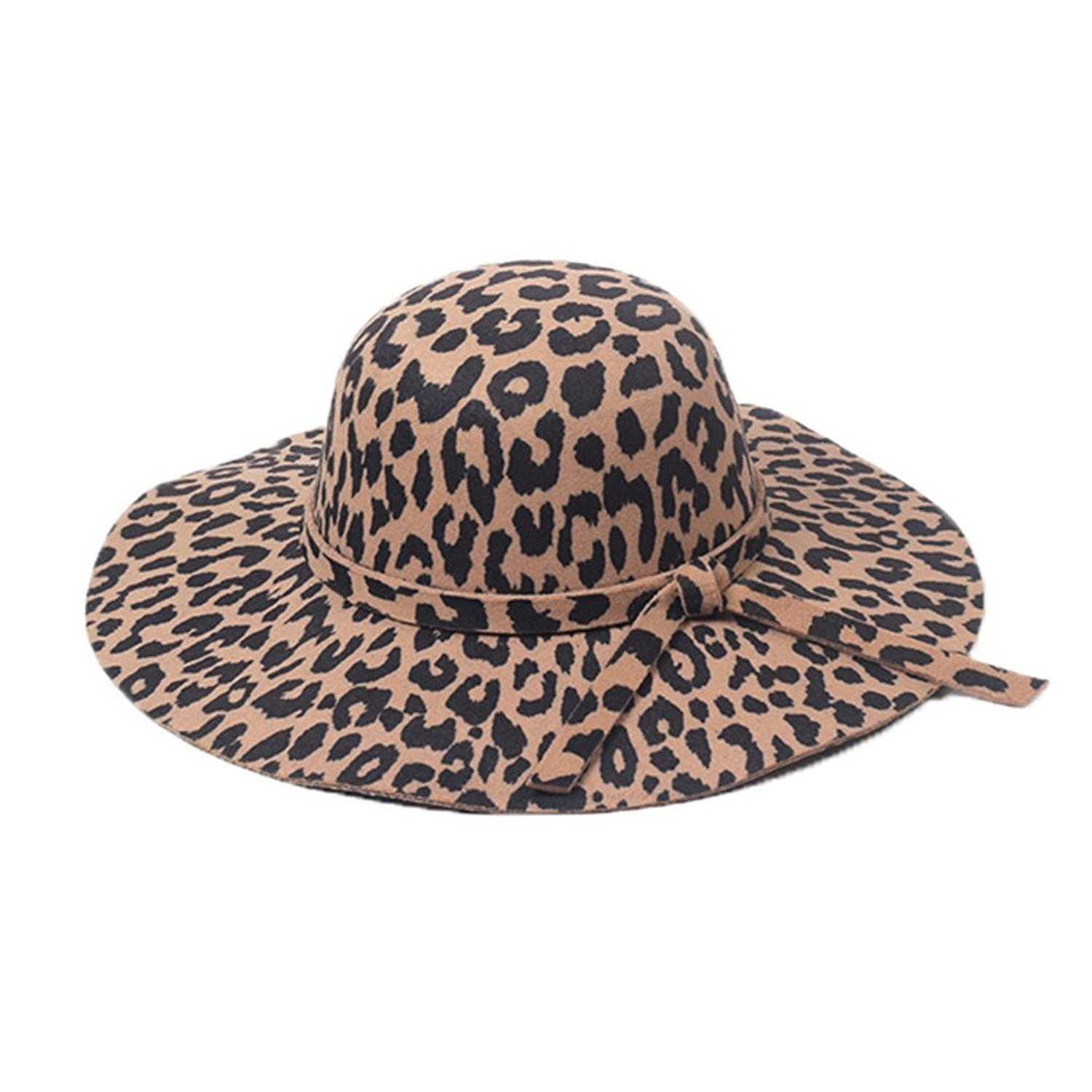 ca967b04f ZHENXIA Women' Wide Brim Leopard Print Floppy Kentucky Derby Floppy Hat (#2  LightBrown) at Amazon Women's Clothing store:
