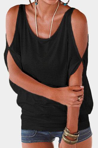 top cold shoulder tops black top cold shoulder