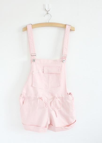 Romper Overalls Girly Pastel Pastel Pink Wheretoget