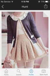 skirt,peach,kawaii skirt,japan,korean fashion,harajuku,kawaii,cardigan,bag,kawaii bag,girly,cute style,fashion,socks,pleated,lace,creme,blouse,clothes,cute,frill,bows,asian,beige,asian fashion,beige skirt,cute skirt