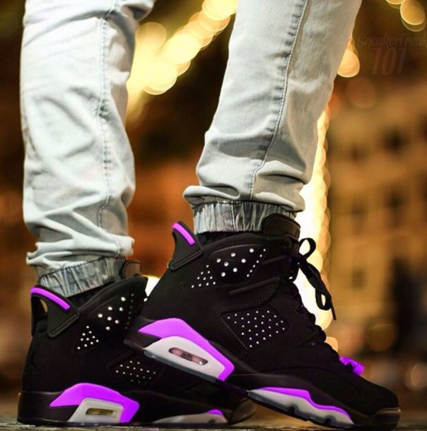 shoes jordans black  white and purple