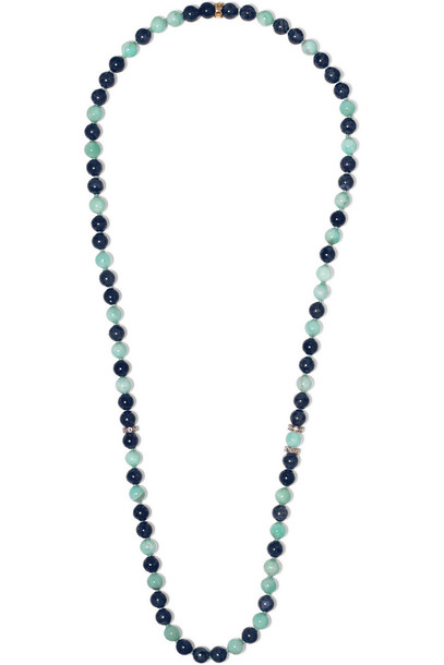 Carolina Bucci stone necklace rose gold rose necklace gold blue jewels