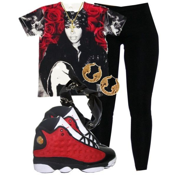 Shirt Swag Shoes Black Red Jordans Black Tights Bandanna - Wheretoget
