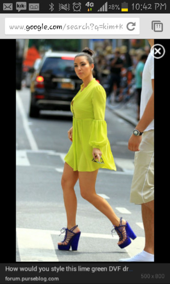 dress shirt dress blue green long sleeve lime green lime green dress shirtdress above the knee green dress long sleeves long sleeved blue wedges blue heels blue high heels blue strappy wedges blue strappy heels blue tie up wedges blue tie up heels blue tie up high heels kim kim kardashian short dress