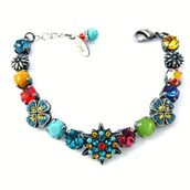 jewels,siggy jewelry,swarovski,bright,colorful,multicolor,sparkle,flowers,arm candy