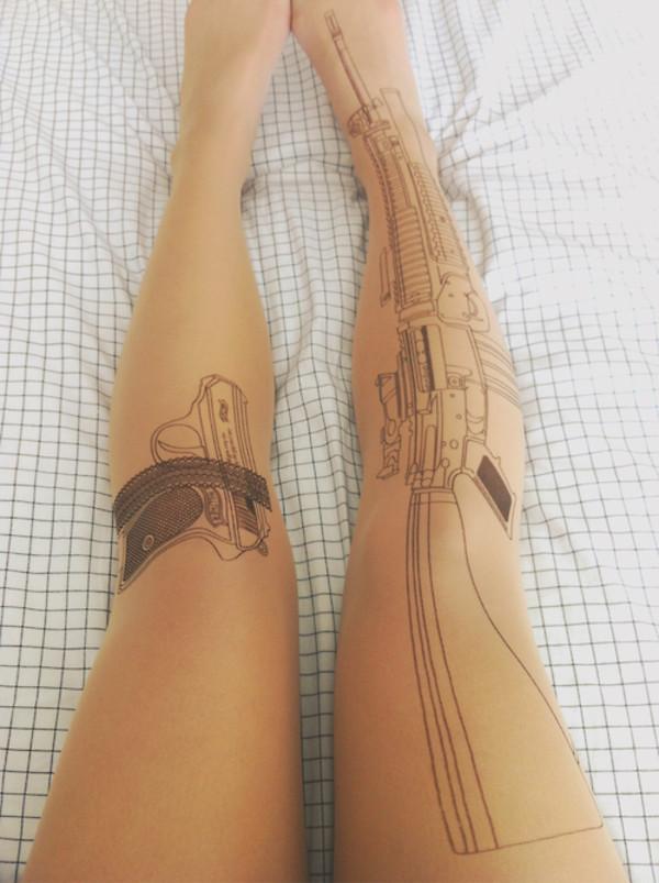 SEXY STRUMPFHOSE MIT PISTOLE TATTOO TIGHTS GUN WAFFE HOT LEGGINGS TRANDY   eBay