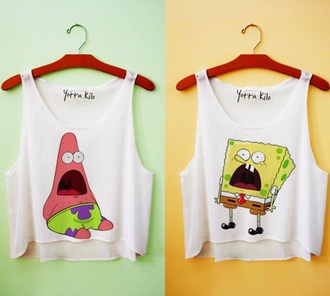 shirt t-shirt crop tops spongebob and patrick