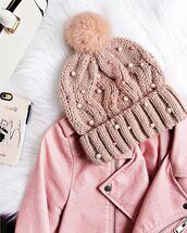 hat,pink beanie,tumblr,beanie,pom pom beanie,embellished,jacket,pink jacket,leather jacket,pastel,pearl