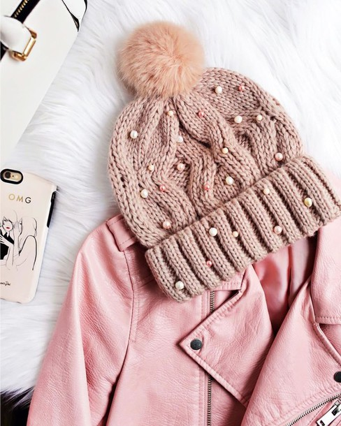 hat pink beanie tumblr beanie pom pom beanie embellished jacket pink jacket  leather jacket pastel pearl f0bde392e9b