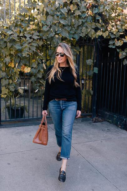 sweater turtleneck black sweater jeans denim shoes black shoes loafers bag sunglasses