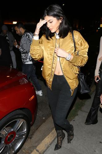 jacket kylie jenner bomber jacket gold satin bomber leggings metallic bomber