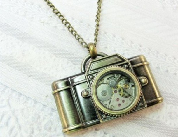 jewels necklace camera bronze necklace camera necklace vintage vintage necklace vintage necklaces steampunk gold gears
