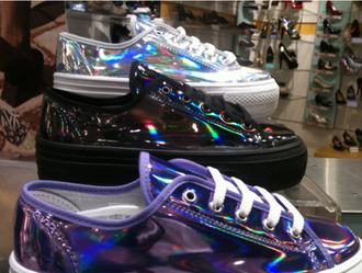 shoes converse sneakers vans flatform platform shoes flatforms holographic shiny rainbow multicolor holo holographic shoes
