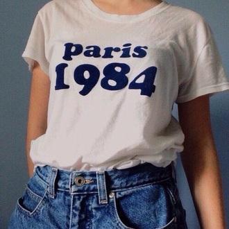 shirt vintage graphic tee white blue paris