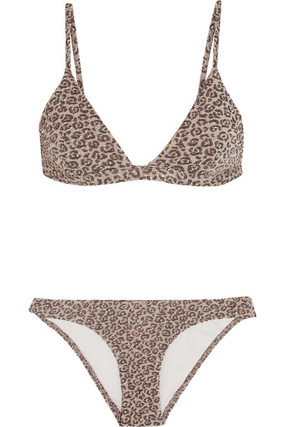 Zimmermann bikini triangle bikini triangle metallic print leopard print swimwear