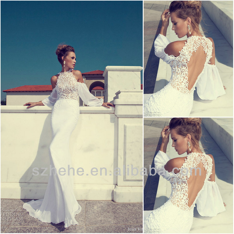 Free Shipping CY1299 Exquisite Mermaid Chiffon long sleeve wedding gowns 2014 julie vino wedding dresses-in Wedding Dresses from Apparel & Accessories on Aliexpress.com