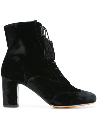 women boots ankle boots lace leather black velvet shoes
