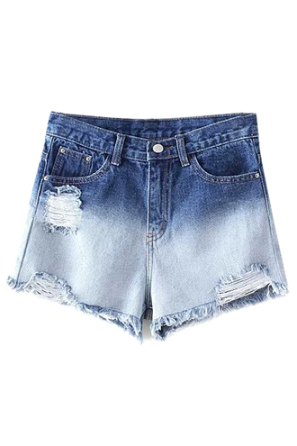 shorts denim blue summer ripped shorts cool ombre trendy jeans