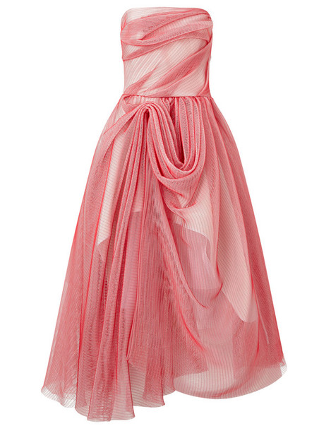 MATICEVSKI gown sleeveless mesh draped pink