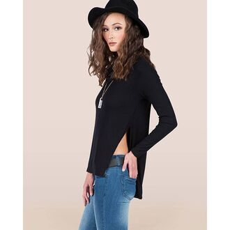 blouse gold soul high slot tee turtle neck high slit tee black top black blouse