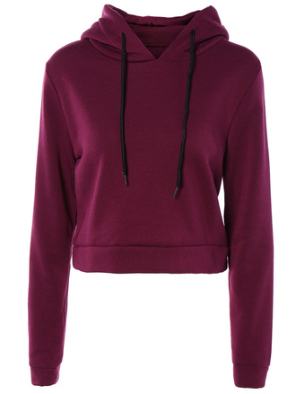 sweater fashion casual trendy hoodie burgundy long sleeves crop tops zaful red style cool fall outfits winter outfits trendsgal.com