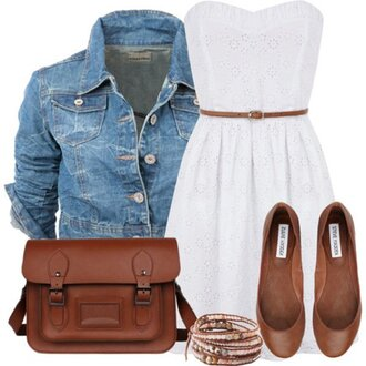 dress cute dress white dress shoes jacket denim jacket spring outfits summer summer dress white leather bag leather sandals belt
