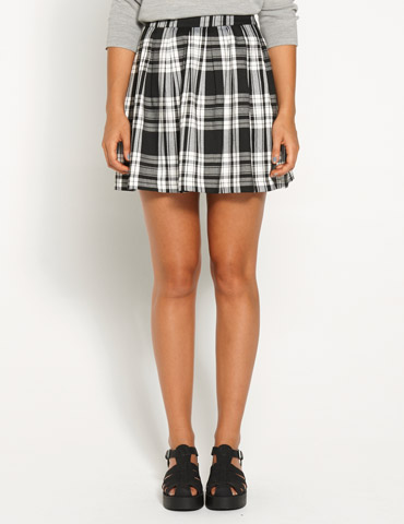 Check Box Pleat Mini Skirt | Dotti