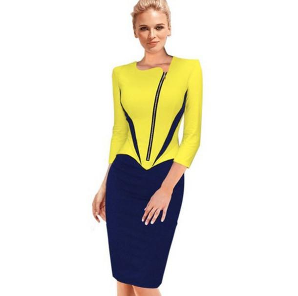 dress bodycon dress office dress zipper dress office outfits blue yellow