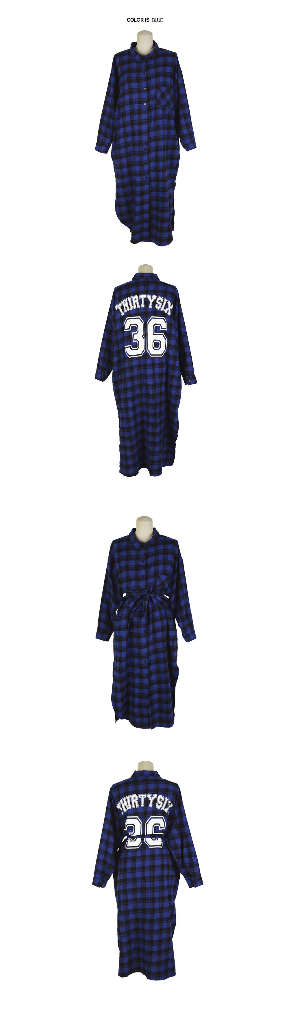 Long Checkered Shirt with 36 Print Back