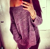 sweater,purple knitted jumper baggy,heavy knit jumper