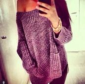 sweater,purple knitted jumper baggy,heavy knit jumper