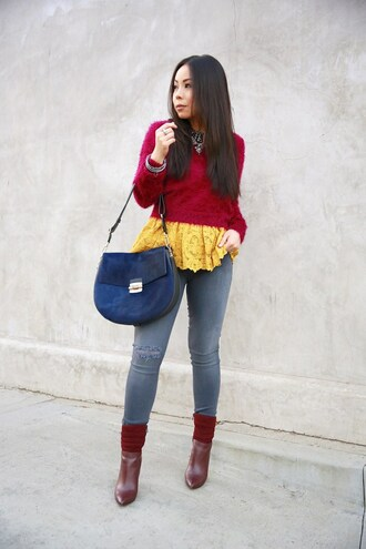 hautepinkpretty blogger jewels sweater top tank top shoes jeans bag skinny jeans red sweater blue bag shoulder bag red boots