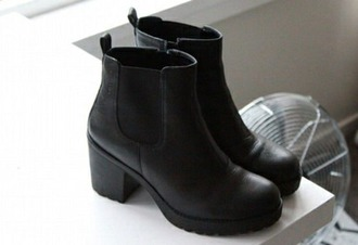 shoes black leather booties