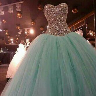 mint dress diamonds sparkle prom dress