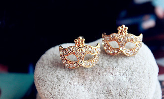 mask jewels earrings rose gold rose gold jewelry