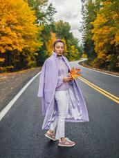not jess fashion,blogger,coat,sweater,jeans,shoes,purple coat,fall outfits,purple sweater