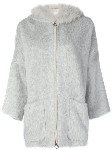 jacket hooded jacket fur fox women wool grey